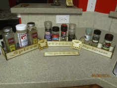Laser Cut Spice Rack Tray With Engraving 18 Birch Plywood Free CDR Vectors Art