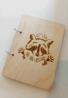 Laser Engraving Raccoon On Notebook Free DXF File