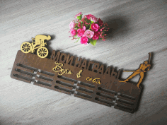 Laser Cut Cycling Medal Hanger Free CDR Vectors Art
