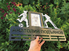 Laser Cut Football Medal Hanger With Photo Frame Free CDR Vectors Art