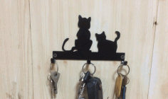 Laser Cut Cats Key Hanger Hooks Wall Mounted Storage Holder Free DXF File