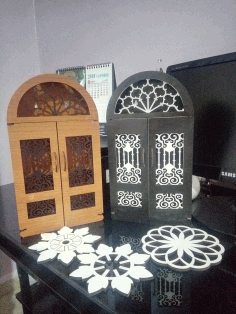 Laser Cut Door Key Box Wooden Key Cabinet Wall Mounted Key Holder Box Free DXF File