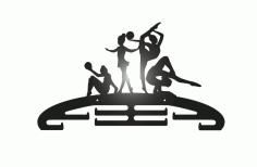 Laser Cut Gymnastics Sport Medal Hanger Free DXF File