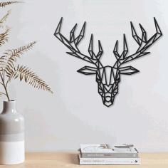 Deer Geometric Polygonal Modern Decor Animal Wall Art Free DXF File