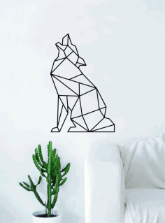 Geometric Wolf Howling Animal Wall Decor Art Free DXF File