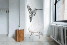 Hummingbird Polygonized Design Template Free DXF File