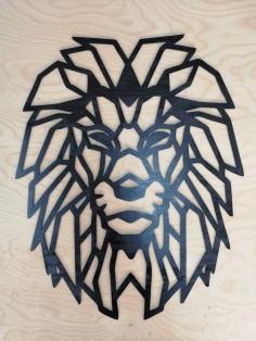 Lion Polygon Art Wall Decor Wall Art Decor 3d Sculpture Free DXF File