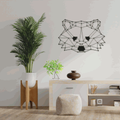 Polygon Raccoon Wall Art Free DXF File