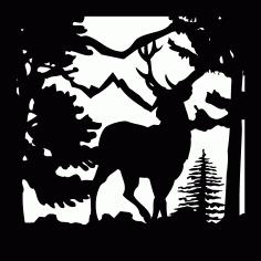 24 X 24 Buck Trees Mountain Plasma Art Free DXF File