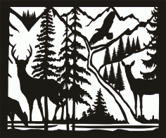 30 X 36 Doe Buck Doe Eagle River Plasma Metal Art Free DXF File
