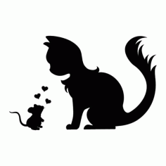 Cute Wall Tattoo Mouse And Cat In Love Silhouette Free DXF File