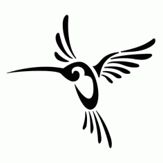 Tribal Hummingbird Tattoo Design Free DXF File