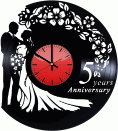 Laser Cut Wedding Vinyl Record Wall Clock Free DXF File