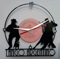 Tango Argentino Vinyl Record Wall Clock Free DXF File