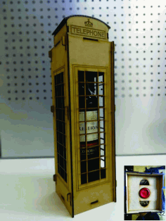 London Telephone Box Wine Holder Box Free DXF File