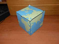 Laser Cut World Map Box Free DXF File