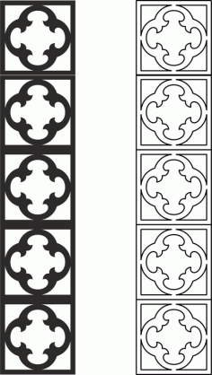 Carved Lattice Partition Pattern Vector Free DXF File
