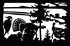24 X 36 Woodpecker Two Turkeys Mountains Plasma Art Free DXF File