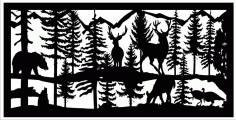 24 X 48 2 Turkeys 2 Bucks 1 Doe 1 Bear Plasma Art Free DXF File
