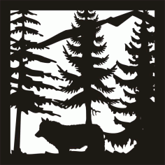 24 x24 New Wolf Trees Mountain Plasma Art Free DXF File