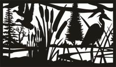 28 X 48 Deuck Cattails Heron Plasma Art Free DXF File