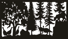 28 X 48 Mountain Lion And Turkeys Plasma Art Free DXF File