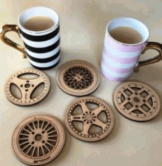 Cnc Laser Cut Wheel Coasters Free CDR Vectors Art