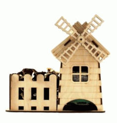 Cnc Laser Cut Windmill Holds Candy Free CDR Vectors Art