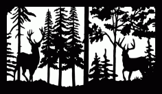 28 X 48 Two Buck Deer Trees Plasma Art Free DXF File