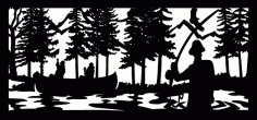 28 X 60 Canoers Fly Fisherman Stream Eagle Plasma Art Free DXF File
