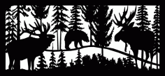 28 X 60 Elk Bear And Moose Plasma Art Free DXF File
