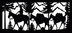28 X 60 Hunter With Two Pack Mules Plasma Art Free DXF File