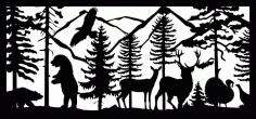 28 X 60 Two Bears Eagle Two Deer Turkeys Plasma Art Free DXF File