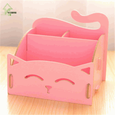 Laser Cut Cute Cat Desktop Storage Box Organizer Free CDR Vectors Art