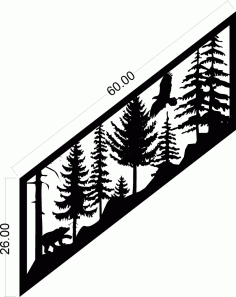 Plasma Art Stair Railing Panel Design Free DXF File
