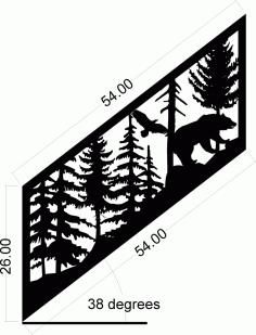 Staircase Panel Bear Eagle Plasma Metal Art Design Free DXF File