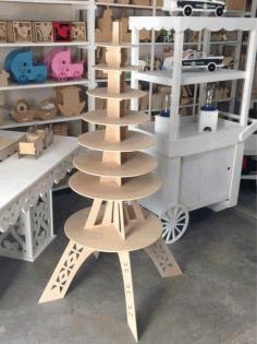 Laser Cut Eiffel Tower Cake Stand Candy Bar Free CDR Vectors Art