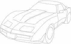 Car Sticker Corvet Car Free DXF File