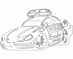 Car Sticker Police Hot Rodda Car Free DXF File