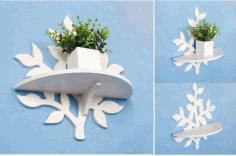 Laser Cut Planter Shelf Free CDR Vectors Art
