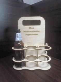 Laser Cut Six Pack Beer Bottle Carrier Template 3mm Free CDR Vectors Art