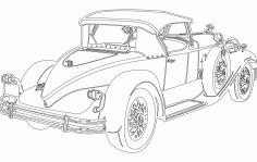 Old Classic Car Sticker Free DXF File
