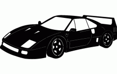 Silhouette Sticker Ferrari Car Free DXF File