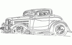 Vintage Model Car Sticker Free DXF File