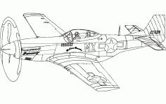 Aircraft p51 Mustang Silhouette Sketch Free DXF File