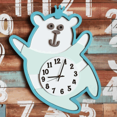 Multilayer Teddy Clock Cnc Laser Cutting Free CDR Vectors Art