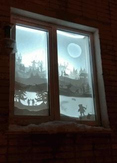 New Year Window Decoration Free CDR Vectors Art