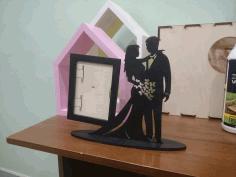 Valentine Couple Laser Cut Photo Stand Free CDR Vectors Art