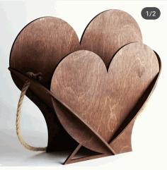 Valentine Day Gift Heart Shape Basket Free CDR Vectors Art