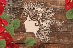 Wall Panels Girl Face Decorations Free CDR Vectors Art